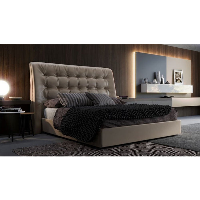 Codex Modern Grey Leatherette Bed Queen