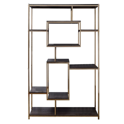 Collin Etagere Bookshelf Gold and Dark Grey