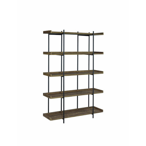 Copeland 5 Tier Metal Framed Bookcase Brown and Black