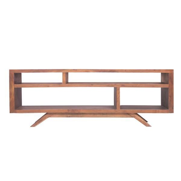 Crescent Mid Century Modern Acacia Wood TV Unit