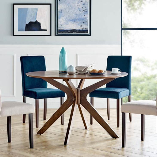 Crosslands 47 Round Wood Dining Table in Walnut