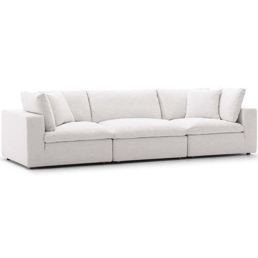 Crux Down Filled Overstuffed 3 Piece Sectional Sofa Beige