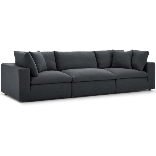 Crux Down Filled Overstuffed 3 Piece Sectional Sofa Gray
