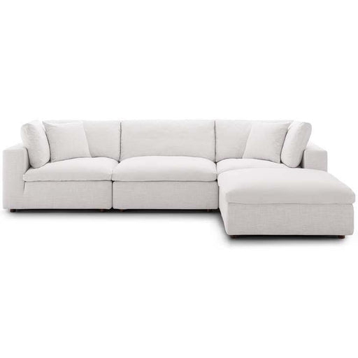 Crux Down Filled Overstuffed 4 Piece Sectional Sofa Beige