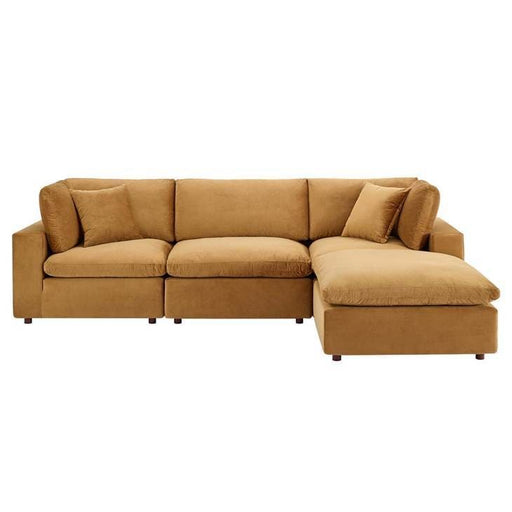 Crux Down Filled Overstuffed 4 Piece Sectional Sofa Cognac Velvet