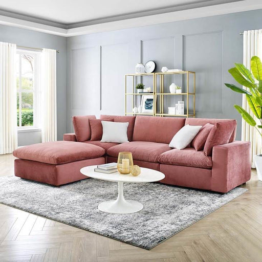 Crux Down Filled Overstuffed 4 Piece Sectional Sofa Dusty Rose Velvet