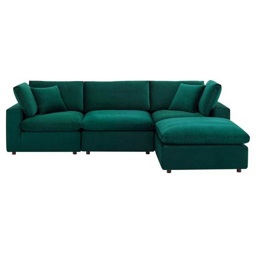 Crux Down Filled Overstuffed 4 Piece Sectional Sofa Green Velvet