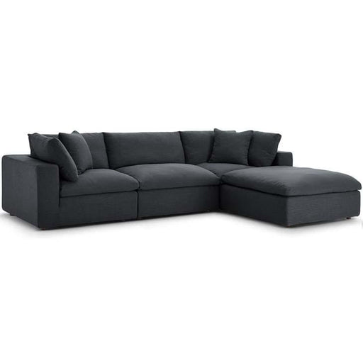 Crux Down Filled Overstuffed 4 Piece Sectional Sofa Grey