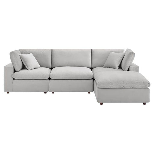 Copy of Crux Down Filled Overstuffed 4 Piece Sectional Sofa Light Gray Velvet