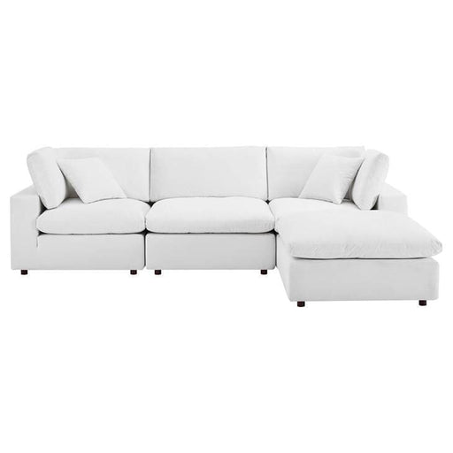 Crux Down Filled Overstuffed 4 Piece Sectional Sofa White Velvet