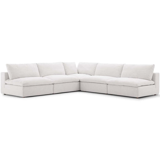 Crux Down Filled Overstuffed 5 Piece Armless Sectional Sofa Beige
