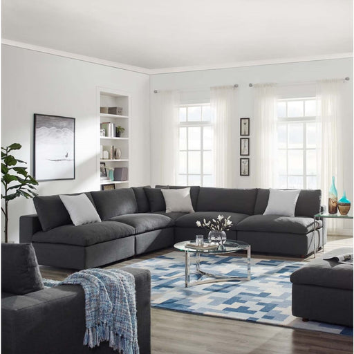 Crux Down Filled Overstuffed 5 Piece Armless Sectional Sofa Gray
