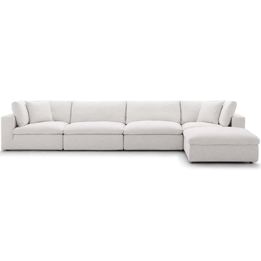 Crux Down Filled Overstuffed 5 Piece Sectional Sofa Beige