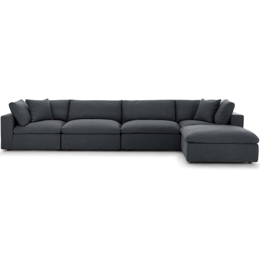 Crux Down Filled Overstuffed 5 Piece Sectional Sofa Gray