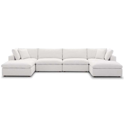Crux Down Filled Overstuffed 6 Piece Sectional Sofa Beige