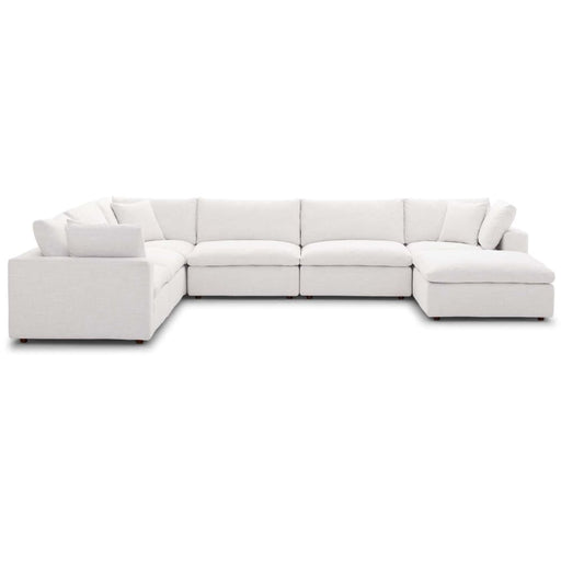 Crux Down Filled Overstuffed 7 Piece Sectional Sofa Beige