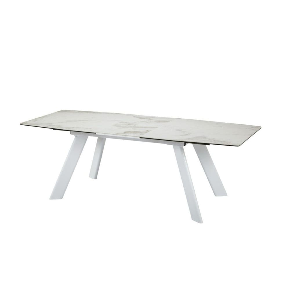 Deco Extendable Faux Marble Ceramic Dining Table White