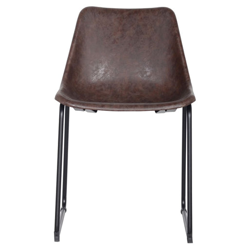 Delta PU Leather ABS Chair-Brown Set of 2