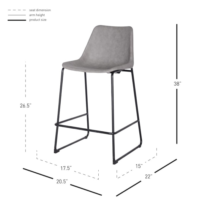 Delta PU Leather ABS Counter Stool-Gray
