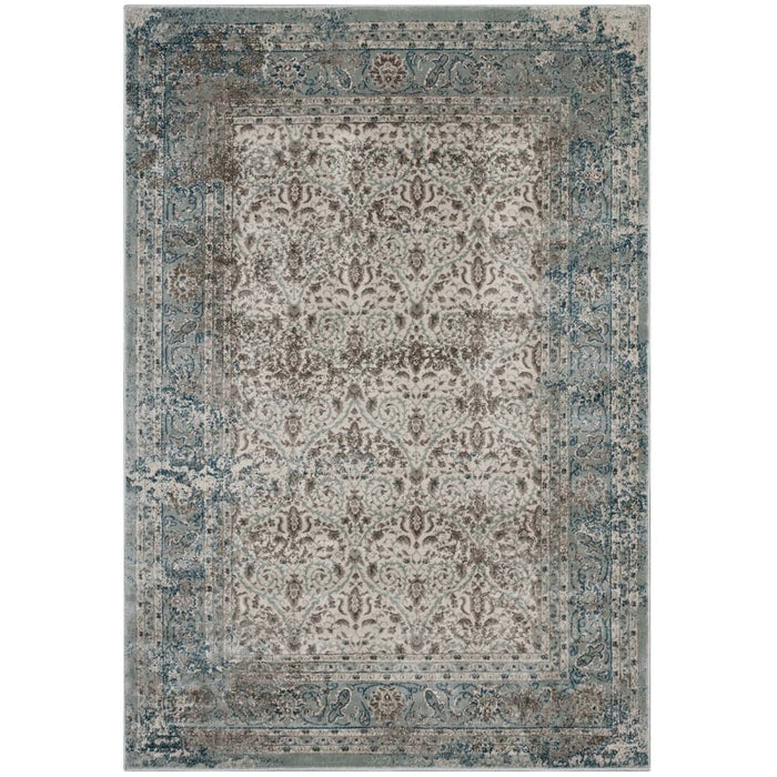 DILYS DISTRESSED VINTAGE FLORAL LATTICE 8X10 AREA RUG