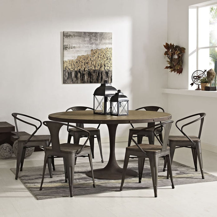 DRIVE 60 ROUND WOOD TOP DINING TABLE