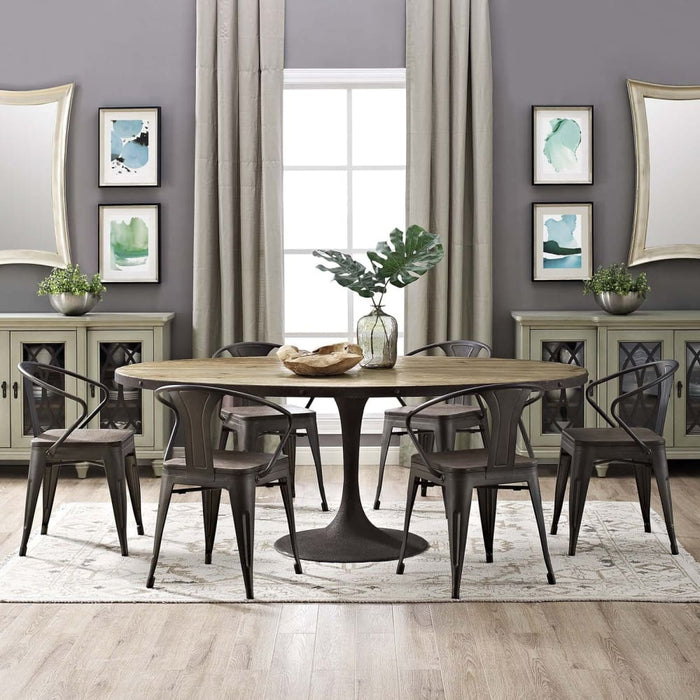 DRIVE 78 OVAL WOOD TOP DINING TABLE