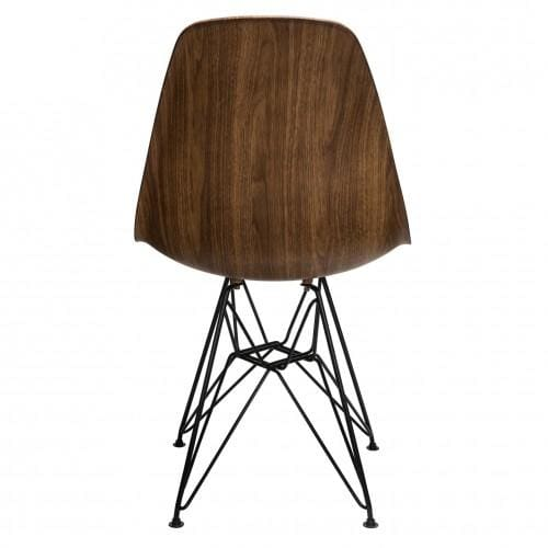 DSW Dining Side Chair Wood Veneer Black Steel Eiffel Leg