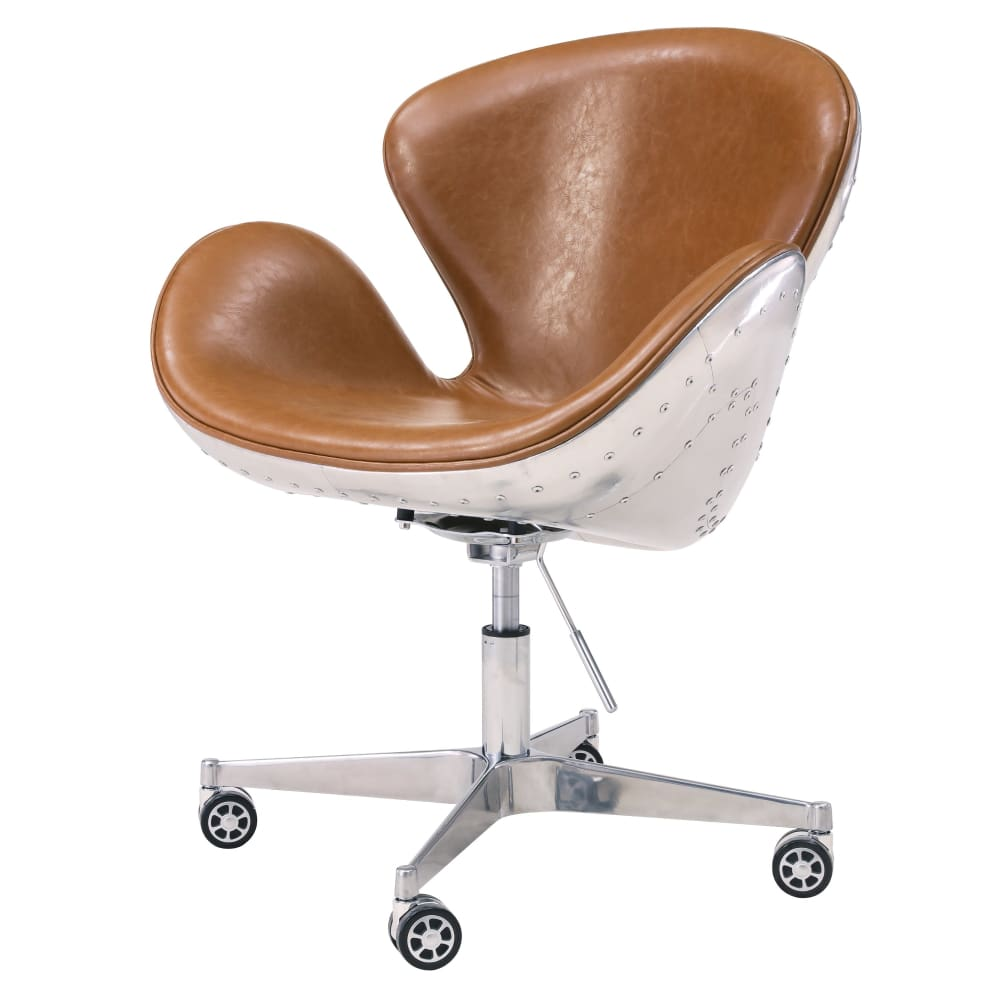 Duval Swivel Office Chair-Distressed Caramel