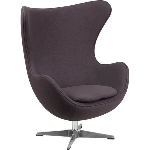 Egg Chair with Tilt-Lock Mechanism Gray Wool Fabric