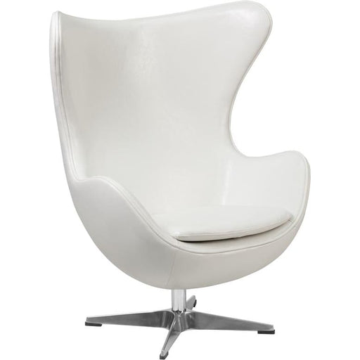Egg Chair with Tilt-Lock Mechanism White LeatherSoft Upholstery