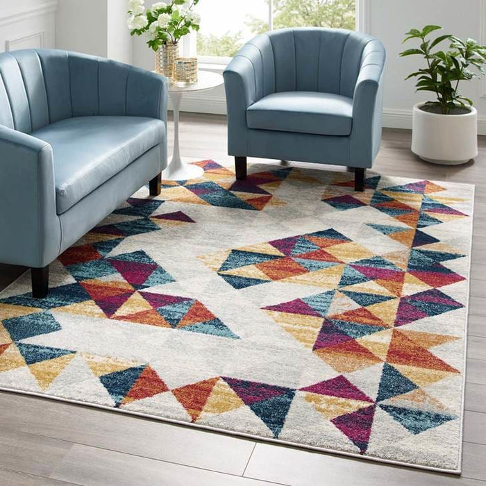 Elettra Distressed Geometric Triangle Mosaic Area Rug 5 x 8