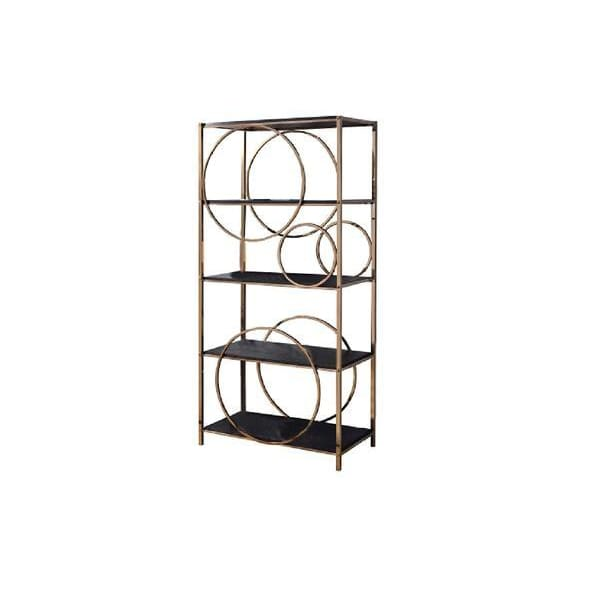 Ellipse Etagere Bookshelf Gold and Grey