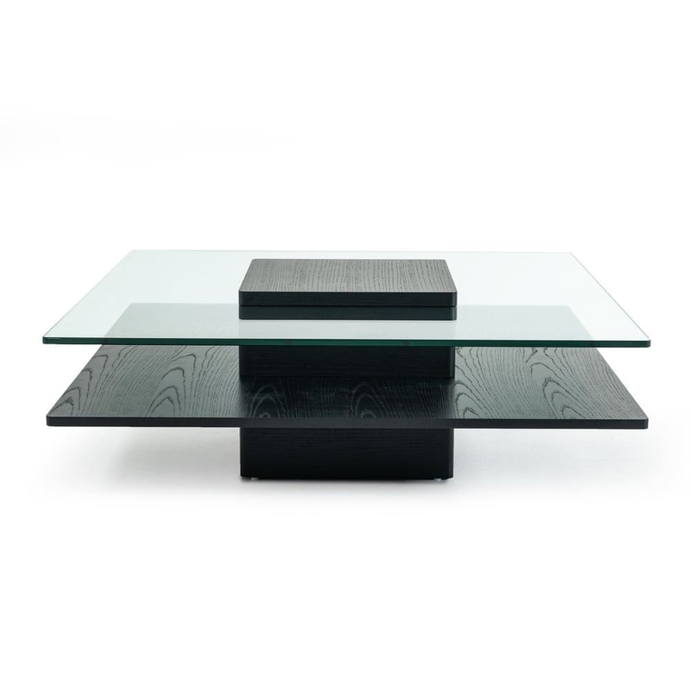 Emulsion Black Oak Glass Coffee Table