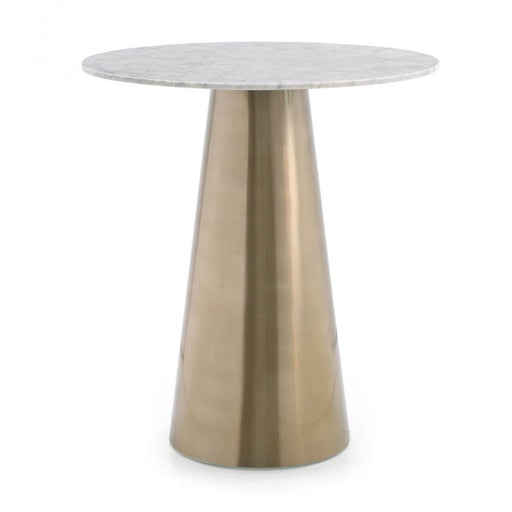 Enbrook White Marble and Brass Bistro Bar Table