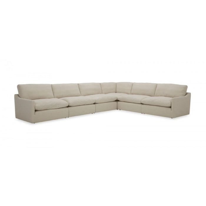 Fellini Modern White Fabric Sectional Sofa with Ottoman