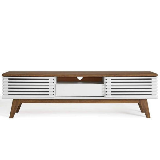 Frank Lloyd 59 TV Stand Walnut White