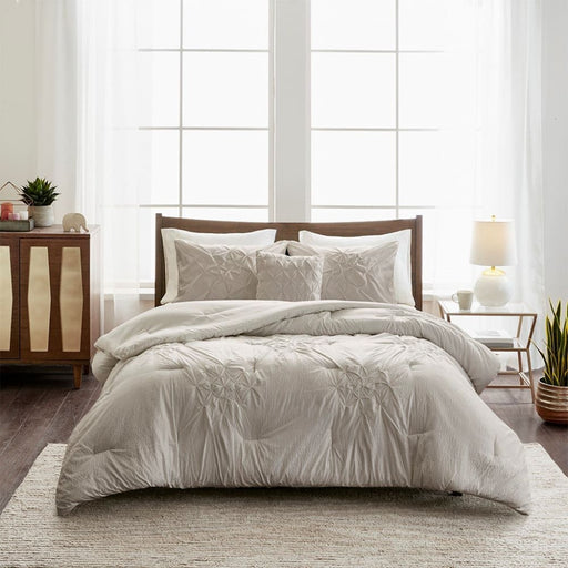 Gabrielle 4 Piece Tufted Seersucker King Comforter Set Grey