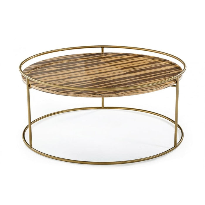 Gilcrest Glam Brown and Gold Marble Coffee Table
