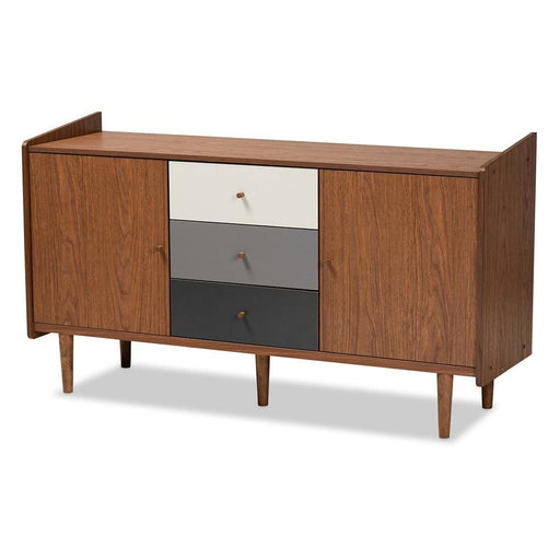 Grey Color Block Mid Century Sideboard Buffet