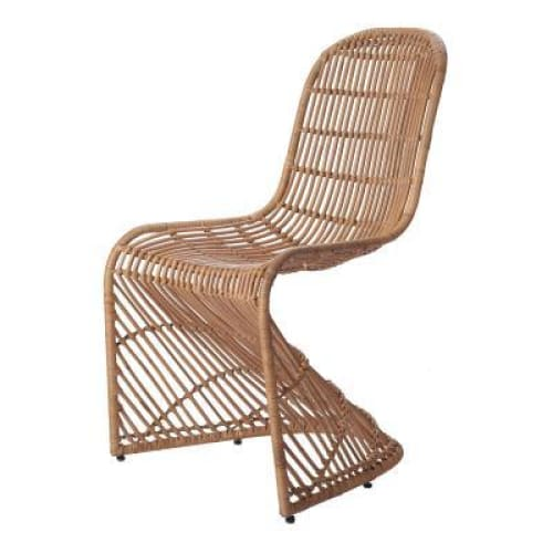 Groovy Rattan Chair-Canary Brown Set of 2