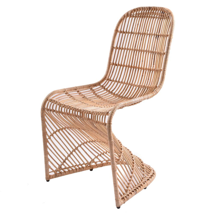 Groovy Rattan Chair-Natural Set of 2