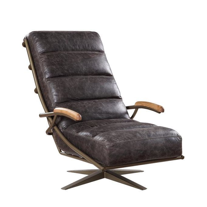 Grundel Swivel Accent Chair Brown Eco-Leather Seating