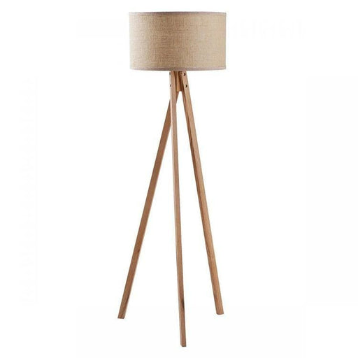 Habitat Wooden Tripod Floor Lamp Linen Fabric Shade