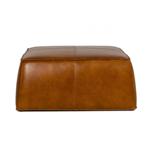 Hayes Camel Leather Square Ottoman