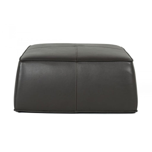 Hayes Dark Grey Leather Square Ottoman