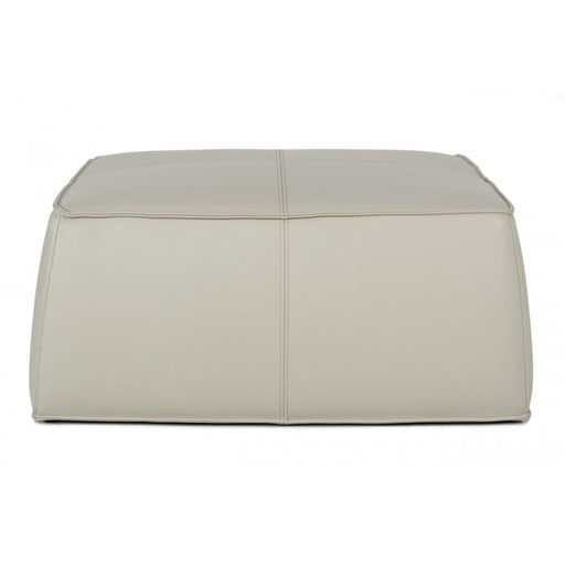 Hayes Light Grey Leather Square Ottoman