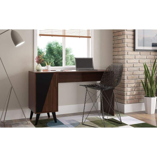 Hess Mid Century Office Desk 2 Shelves, Dark Brown