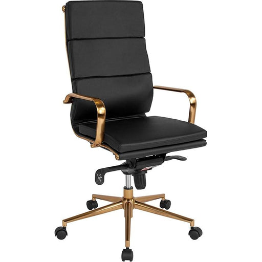 High Back Black LeatherSoft Executive Swivel Office Chair with Gold Frame