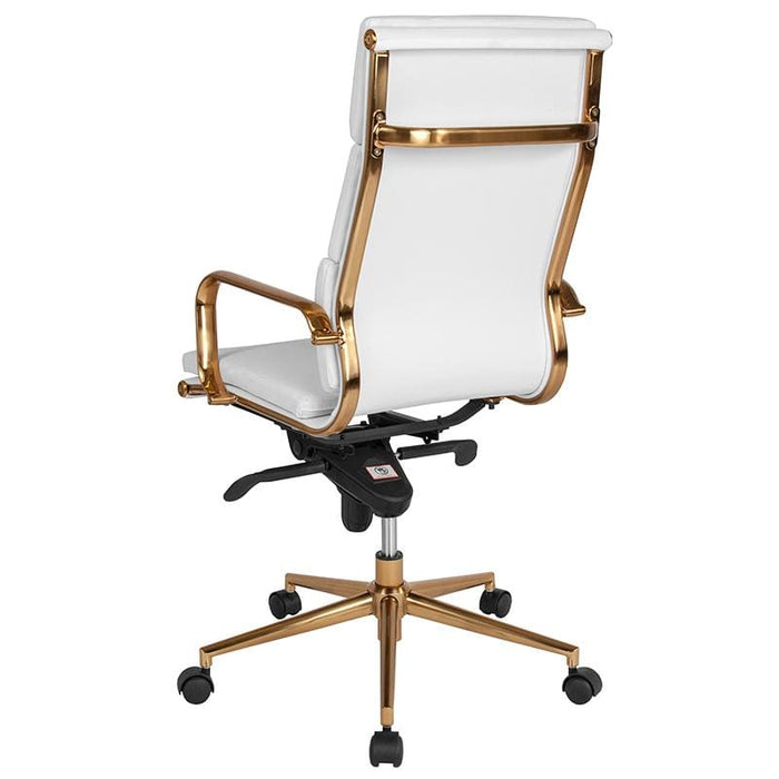 High Back White LeatherSoft Executive Swivel Office Chair with Gold Frame