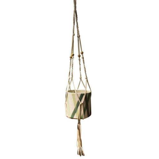 Hipster Ceramic Planter with Macrame Hanger, Large
